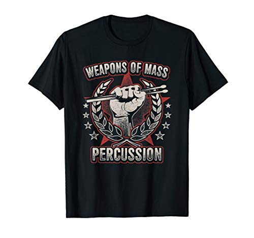 - Weapons Of Mass Percussion T-Shirt Funny Drummer Tee