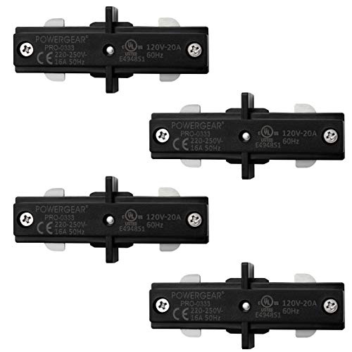 Hyperikon Black H Track Lighting Connector, I Straight Connector, Single Circuit 3-Wire Track Lighting Corner Joiner, 4 Pack
