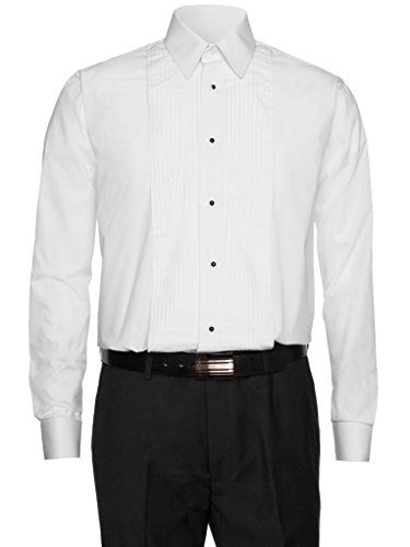 Gentlemens Collection Mens Tuxedo Shirt Lay Down Collar - White 16.5 4/5