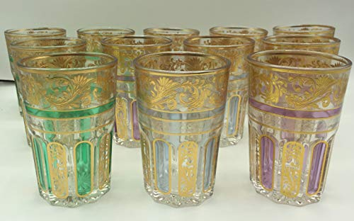 RS Set de 12 de Vasos de Cristal para Te marroqui Dorados con ramal Dorado