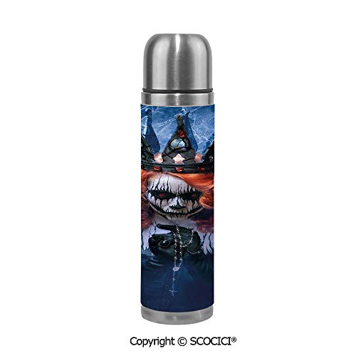 Travel Mug Thermos Food Grade Water Bottle Queen Of Death Scary Body Art Halloween Evil Face Bizarre Make Up Zombie Insulation Cup Leak Proof No Spill Lid Thermoses 500 ML]()