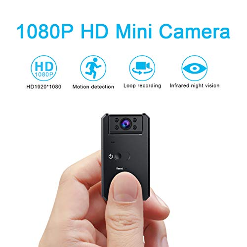 - Hidden Camera-1080P Portable Mini Security Camera Nanny Cam with Night Vision/Motion Detection /1200mAh Battery for Home and Office,Indoor/Outdoor Use-No WiFi Function