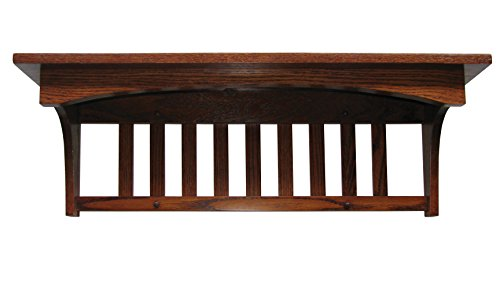 Cheap Mission Captain Shelf Solid Oak Wood Wall Mounted 72″ – Amish Custom Handmade Pick Your Own Stain – Brown Maple Wood Available for Same Price, Upcharge for Cherry, Maple, Painted, Quartersawn Oak, Rustic Cherry, Distressed