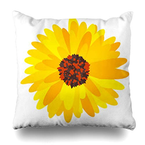 Homeyard Throw Pillow Cover Color Gerbera Daisy Flower for Bloom Floral Pattern Orange Blossom Nature Home Decor Sofa Cushion Square Size 16 x 16 Inches Zippered -