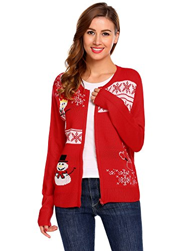Snowman Zip-up Cardigan Sweater