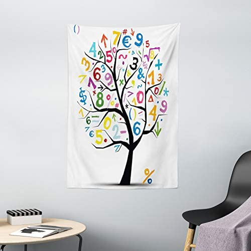 Ambesonne Mathematics Classroom Tapestry, Tree with Colorful Numbers Math Funny Kids Drawing, Wall Hanging for Bedroom Living Room Dorm Decor, 40 X 60 , Charcoal