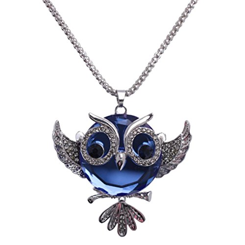 WensLTD Clearance! Women Crystal Necklace Jewelry Statement Pendant Charm Chain Choker (Blue Owl)