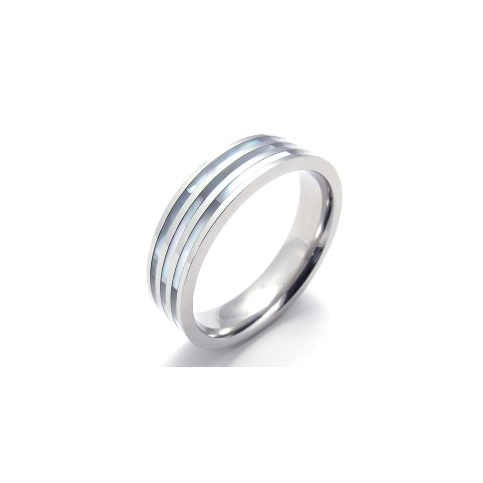 Pr820260 R&d Stainless Steel Ring Mens Ladys Natural Shell Shiny Us Size 8