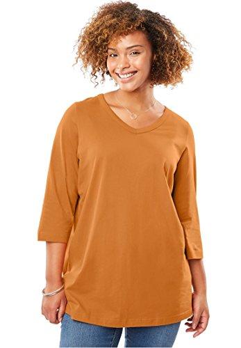 Spice Face (Women's Plus Size Perfect Three-Quarter Sleeve V-Neck Tee Pumpkin Spice,M)