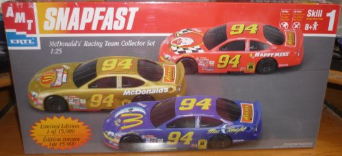 (#30116 AMT/ertl Snap Fast McDonald's Racing Team Collectors Set 1/25 Scale Plastic Model Kit,Needs Assembly)