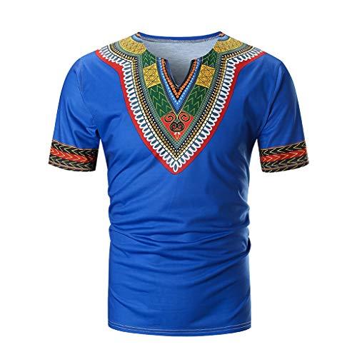 Mens Summer Casual African Print V Neck Pullover Short Sleeve T-Shirt Tops ()