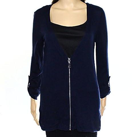 Michael Kors Navy Womens Front-Zip Cardigan Sweater Blue XS - Michael Kors Zip Cardigan