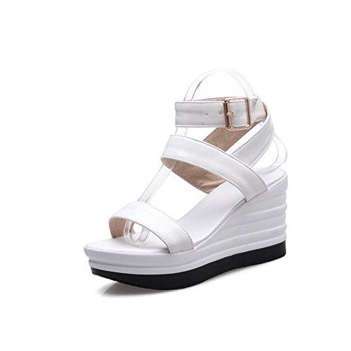 BalaMasa Womens Metal Buckles Wedges Platform Patent-Leather Platforms Sandals White