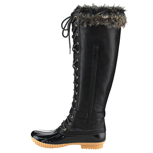 Boots Lace Up Women's Size Insulated High Breeze Black Half Nature Small Knee FF70 8CxqXUnwO