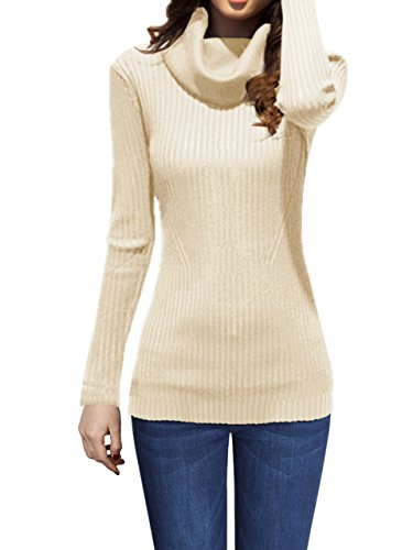 - v28 Women Stretchable Cowl Neck Knit Long Sleeve Slim Fit Bodycon Sweater (X-Small,Ivory)