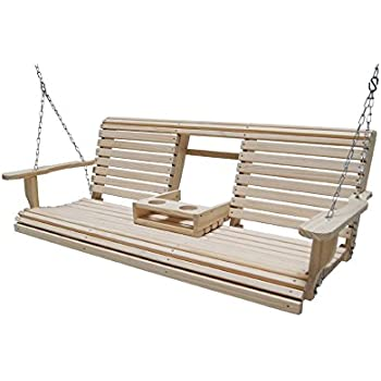 Ecommersify Flip Cup Holder Console Rot Resistant Cypress Eternal Wood Lumber Roll Back Porch Swing 5 Feet