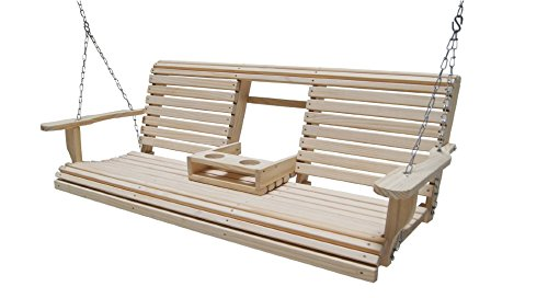 (Ecommersify Flip Cup Holder Console Rot-resistant Cypress Eternal Wood Lumber Roll Back Porch Swing,)
