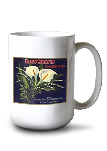 Lantern Press Lily Orange Label (15oz White Ceramic Mug)