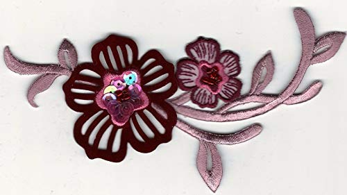 6'' Pink Wine Burgundy Plum Scroll Flower with Bead and Sequin Accents Patch