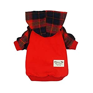 Fitwarm Plaid Pet Clothes for Dog Hoodies Cat Hooded T Shirts Red 46
