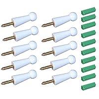 GardenHelper 10Pcs Solid Wood Screw-On Shaker Peg Robe Hook Coat Hook Towel Hook with 10Pcs Self-Drilling Screw for Bathroom Livingroom Bedhome Garden