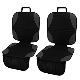 Meinkind Car Seat Protector for Child Seats, 2 Pack Child Car Seat Protector, Universal Size Durable Waterproof Baby Car Back Seat Protector, Black