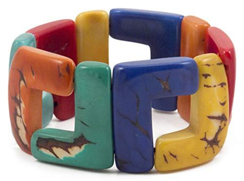 Organic Tagua Santiago Bracelet Ecuador Multi-Colored