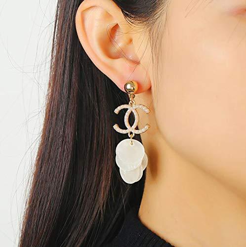 Double C Letter Jewelry Temperament Fashion Pearl Tassel Personality Asymmetric Earring