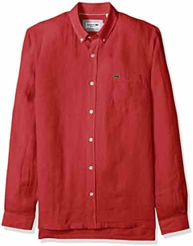 a7e0adf9000 Lacoste Men s Long Sleeve Solid Linen Button Down Collar Reg Fit Woven  Shirt