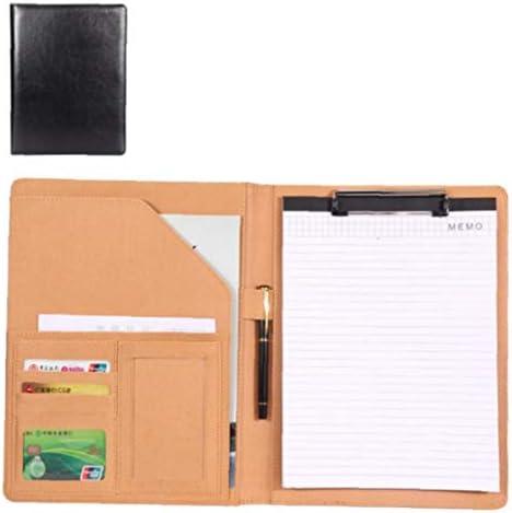 A4 Business-Resume-Portfolio Ledermappe mit Zwischenablage Document Organizer mit Büroklammer (ohne Rechner) -Schwarz