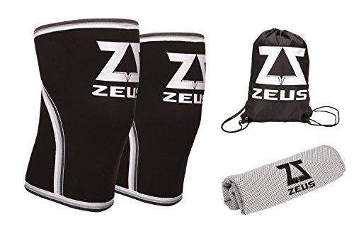 Knee Sleeves - Pair Of 7 mm Knee Sleeve FREE Gym Bag & PVA Towel - Neoprene Knee Brace For Men & Women - Best Knee Support - Knee braces for Running, CrossFit, Weightlifting, Powerlifting, Fitness