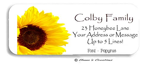 60 Stunning Mammoth Sunflower Floral Personalized Return Address Labels