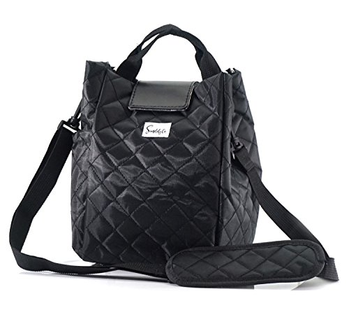 Quilted Polyester Fashionable Insulated Lunch Bag w/Shoulder Strap & Drink Side Pocket for Women or Girls (Black) ()