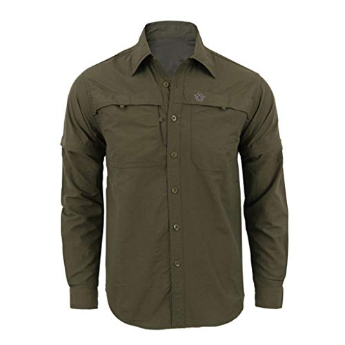 Mens Fashion Needle Show Autumn Long Sleeve Casual Fit V-Neck Top Blouse, MmNote Army Green
