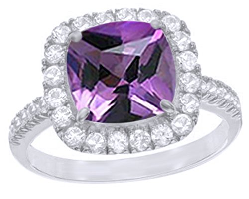 White Sapphire Frame Ring - AFFY Simulated Amethyst & White Sapphire CZ Frame Ring in 14k White Gold Over Sterling Silver