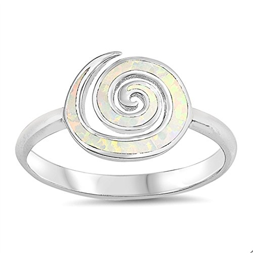CloseoutWarehouse White Simulated Opal Swirl Ring Sterling Silver Size 6