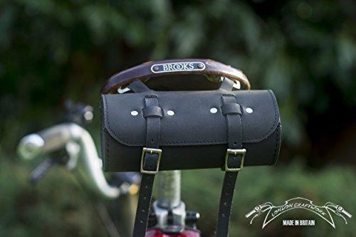 Sattel/Lenker Rolle Tasche echtes Leder in schwarz für Bike Werkzeuge