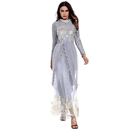 5f8d4dd4648 De Robes Dubai Abaya Manches Musulman D honneur Bal Hougood gris Soirée  Style Tulle Longues Robe ...