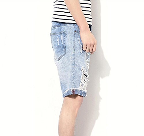 Hzcx Fashion Men's Ripped Distressed Brushed Light Blue Denim Shorts DSA022-GK23-45-LBL-US 31 TAG 31