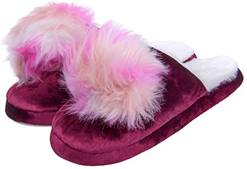 MIXIN Womens Memory Foam Indoor House Outdoor Fluffy Slip on Winter Warm Cute Non Slip Slippers Shoes Wine Size 5-6 M