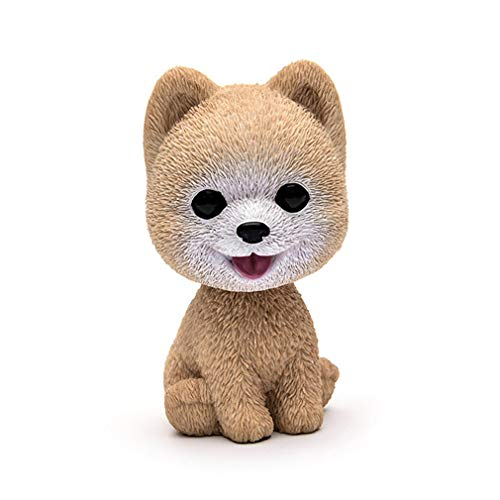 3.7'' Resin Lovely Pomeranian Corgi Teddy Dog Figurine Cute Cartoon Shakeable Head Dog Model Miniature For Car Home Decor Pomeranian Model -