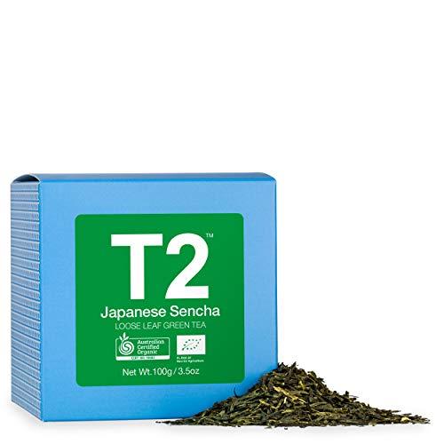 T2 Tea Organic Green Tea, Japanese Sencha Loose Leaf Green Tea in Gift Cube 100 g, 100 g