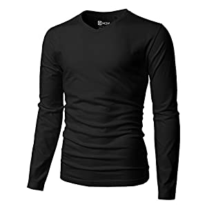 H2H Mens Casual Premium Soft Cotton Long Sleeve V-neck T-Shirts