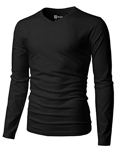 H2H Mens Casual Slim Fit Long Sleeve V-Neck Black Long Sleeve Shirt Black US M/Asia L (KMTTL0374) from H2H