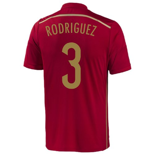 Adidas Rodriguez #3 Spain Home Jersey World Cup 2014 (Youth) (YXL)