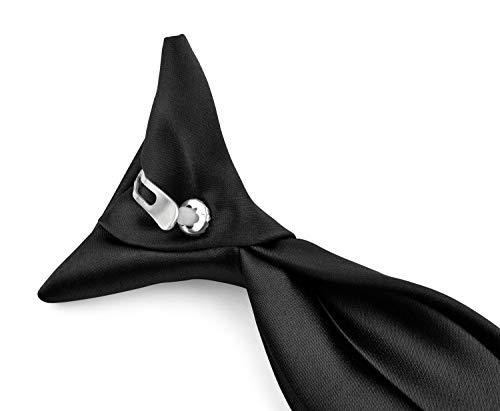 (Moda Di Raza - Boy's NeckTie Solid Clip on Polyester Tie - Boys' Kids' Children's Solid Color Boys Formal Wear Pre-Tied Polyester Clip Necktie - Black/11)