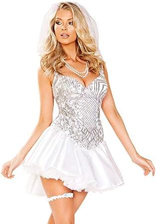 Disfraz de Novia recién Casada de Lentejuelas Mujer Medium (UK 10 ...