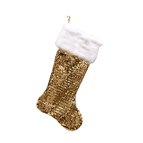 (GiftsForYouNow Gold Sequin Christmas Stocking with Fur Cuff,)