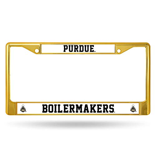 (Rico Purdue Boilermakers NCAA Gold Color Painted Chrome Metal License Plate Frame)