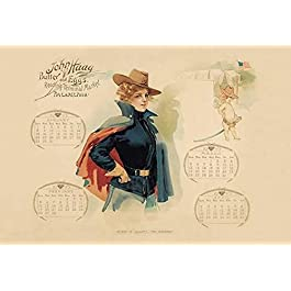 Promotional calendar from 1899 showing a woman wearing a US Army cadet uniform The John Haag company purveyor of butter…